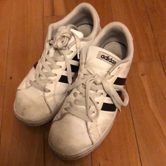 adidas Shoes - Very worn white adidas sneakers, size 8